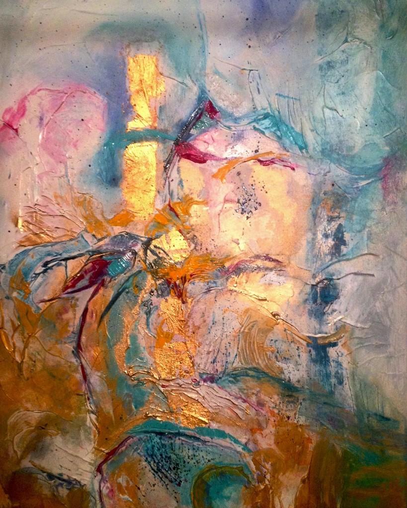 Inside the temple, mixed media on canvas, 90x60cm, 2017 Cena 15900,- CZK